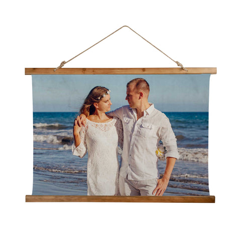 Expressiffy's Customized Wooden Tapestry with a photo of a couple on a beach