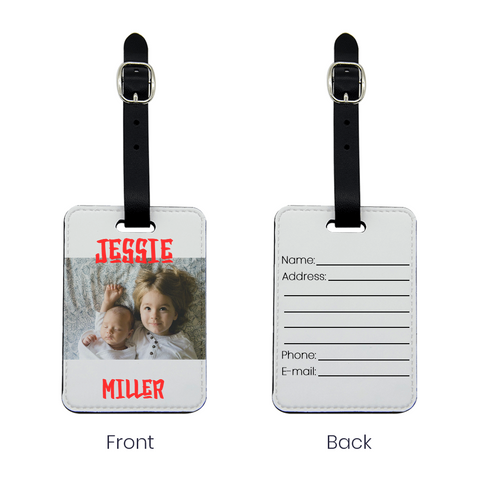 Front and back of Expressiffy Luggage Tag