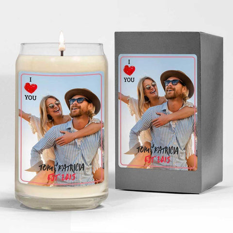 A photo of a couple on a custom scented candle