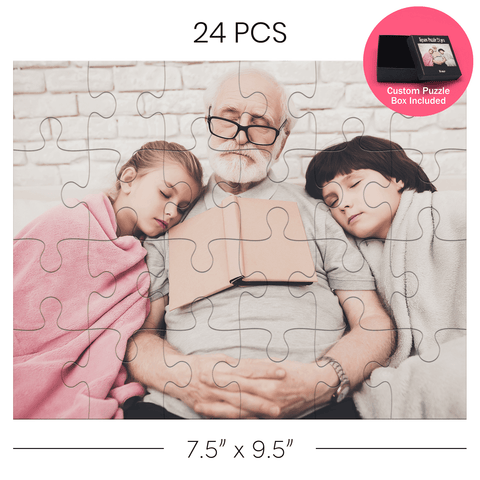 Man with children on a custom jigsaw puzzle