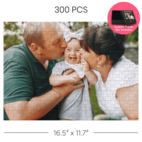 Personalized Jigsaw puzzle with grandparents and little girl