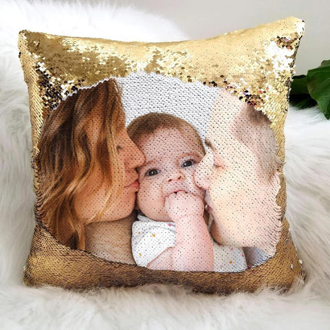 Expressiffy's personalized sequin pillow with a family photo