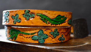Hand-carved Turquoise Flower Belt