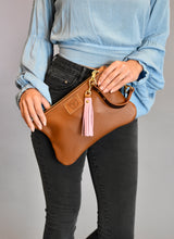 Distressed Fold Clutch with White