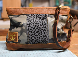 Grey Camo/Cheetah Mix Vacation Wristlet