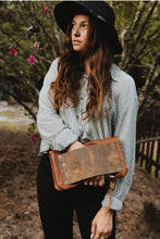 Distressed Leather Fold Clutch