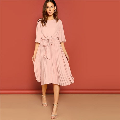 703636e8a1 SHEIN Pink Knot Front Zip Bell Sleeve Round Neck Solid Plain Dress Spring  Women Three Quarter Length Sleeve Solid Dresses