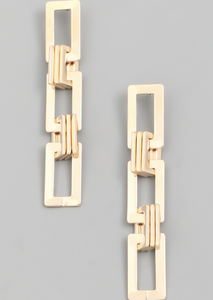 Rectangle Tiered Drop Earrings - Alpha & Omega Boutique