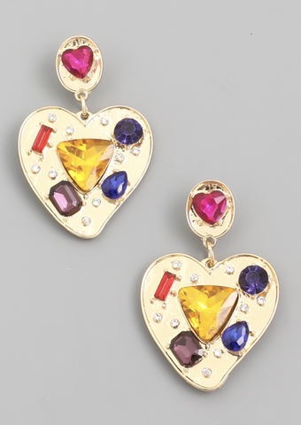 Gem Studded Heart Drop Earrings - Alpha & Omega Boutique