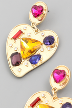 Load image into Gallery viewer, Gem Studded Heart Drop Earrings - Alpha & Omega Boutique