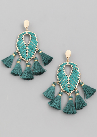 Leaf Drop Tassel Earrings - Alpha & Omega Boutique