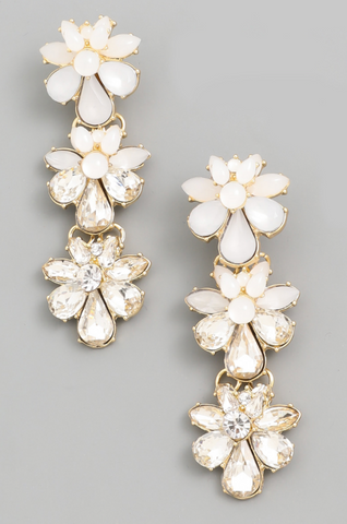 Crystal Flower Drop Earrings - Alpha & Omega Boutique
