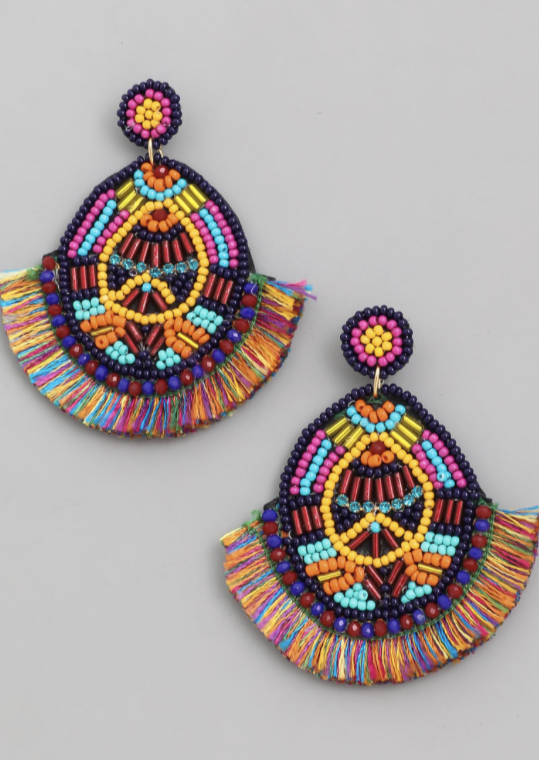 Circle Bead Fan Drop Earrings - Alpha & Omega Boutique