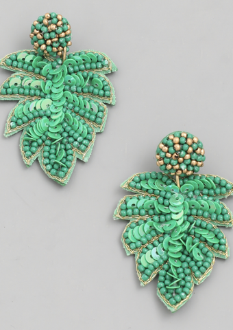 Beaded Monstera Leaf Earrings - Alpha & Omega Boutique