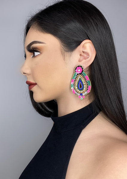 Oval Sequin Drop Earrings - Alpha & Omega Boutique
