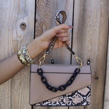 Load image into Gallery viewer, Tan Snake Print & Chain Handbag - Alpha & Omega Boutique