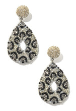 Load image into Gallery viewer, Leopard Beaded Teardrop Earrings