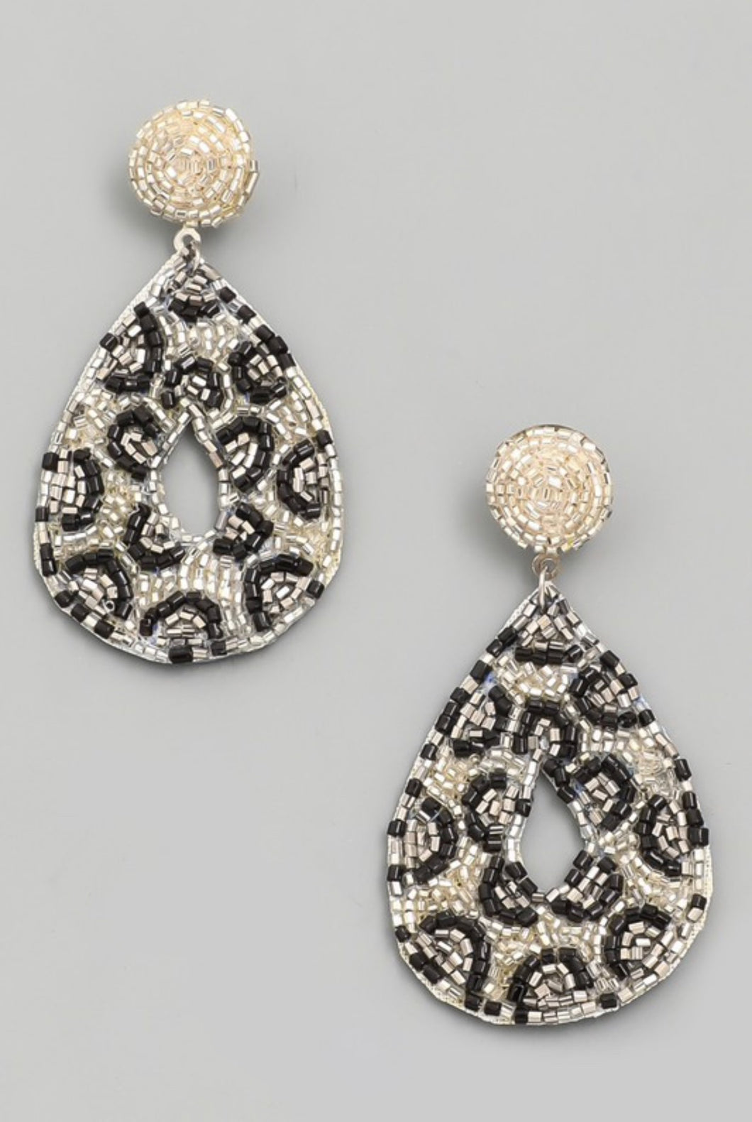Leopard Beaded Teardrop Earrings