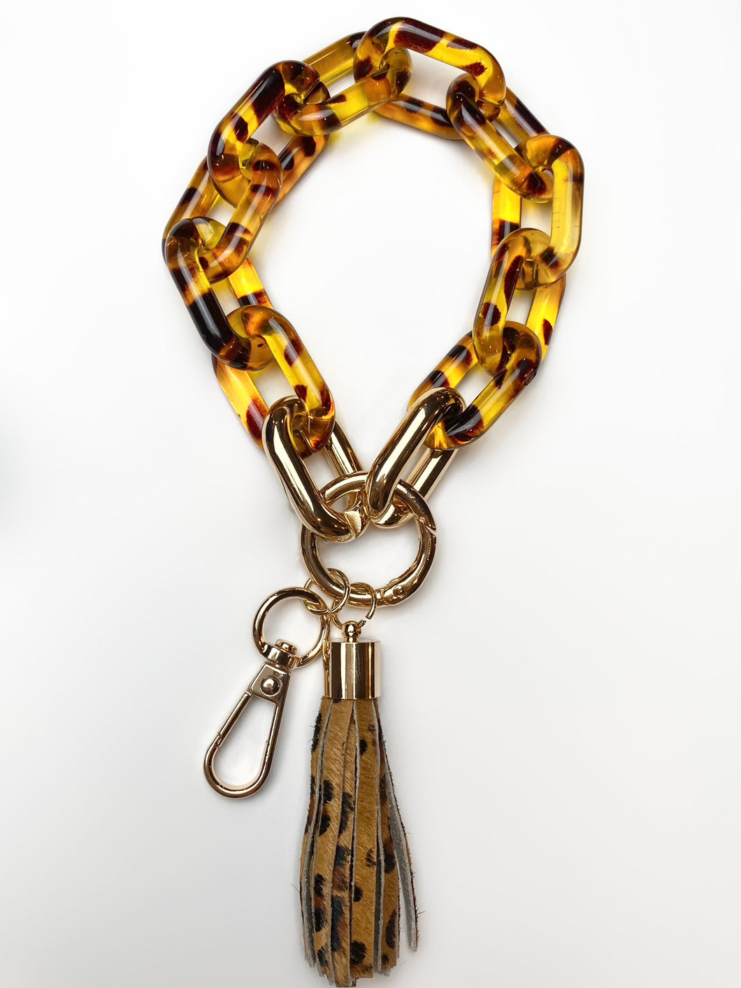 Brown Chain Link Tassel Keychain