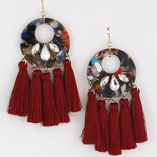 Burgundy Jewel Tassel Earrings - Alpha & Omega Boutique