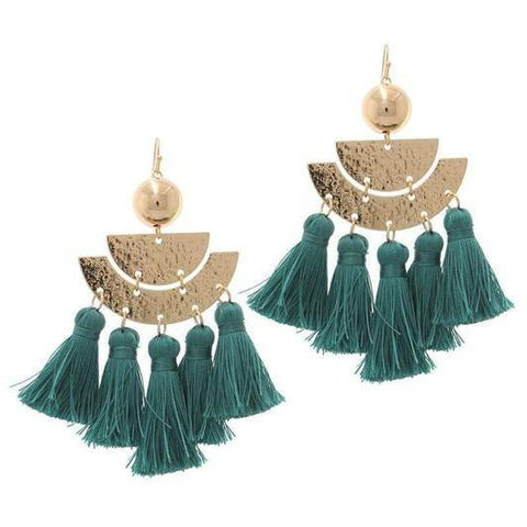 Gold & Turquoise Tassel Earrings - Alpha & Omega Boutique