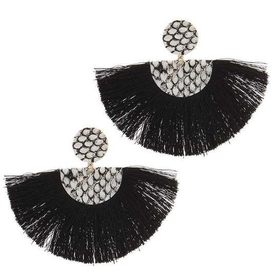 Snake Print Black Fan Earrings - Alpha & Omega Boutique