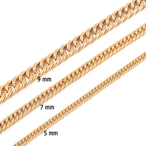 Stainless Steel Gold Necklace Chain High Quality Gold Plating Titanium Steel Cuba Chain Men Women Jewelry Gifts