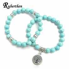 Load image into Gallery viewer, Ruberthen Tree of Life jewelry Yoga Mala Bracelet Stone Healing Protection Elastic Beaded Stacking Bracelet Spiritual jewelry