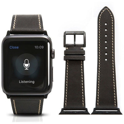 Black French Calf Leather Apple Watch Band - OzStraps New Zealand