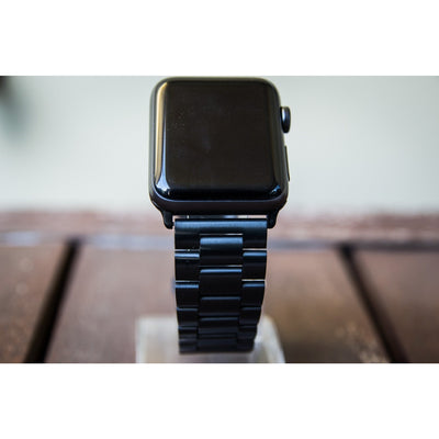Black Classic Stainless Steel Apple Watch Band - OzStraps New Zealand