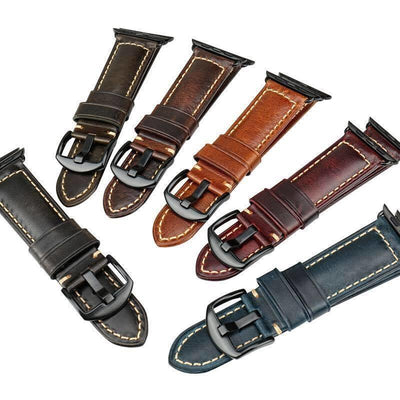Italian Greased Leather Apple Watch Band - OzStraps New Zealand