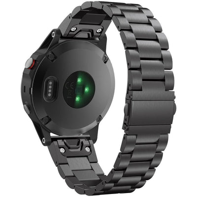 Black Classic Stainless Steel Garmin Fenix 5 Band - OzStraps New Zealand