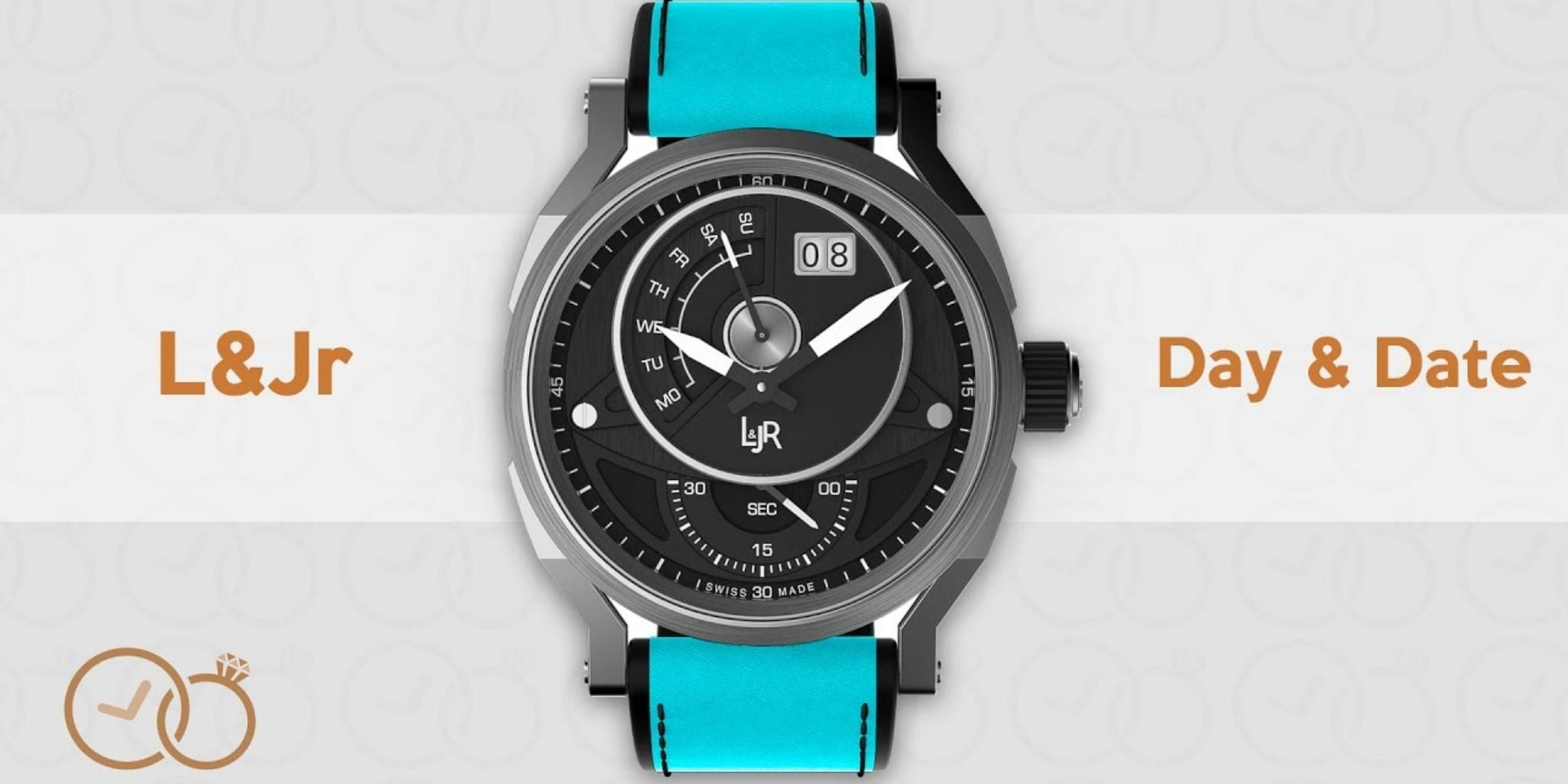 L&Jr Day and Date Black PVD Blue