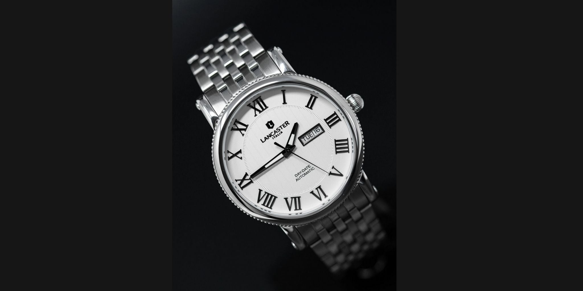 Lancaster Italy Monarch Day and Date White Steel