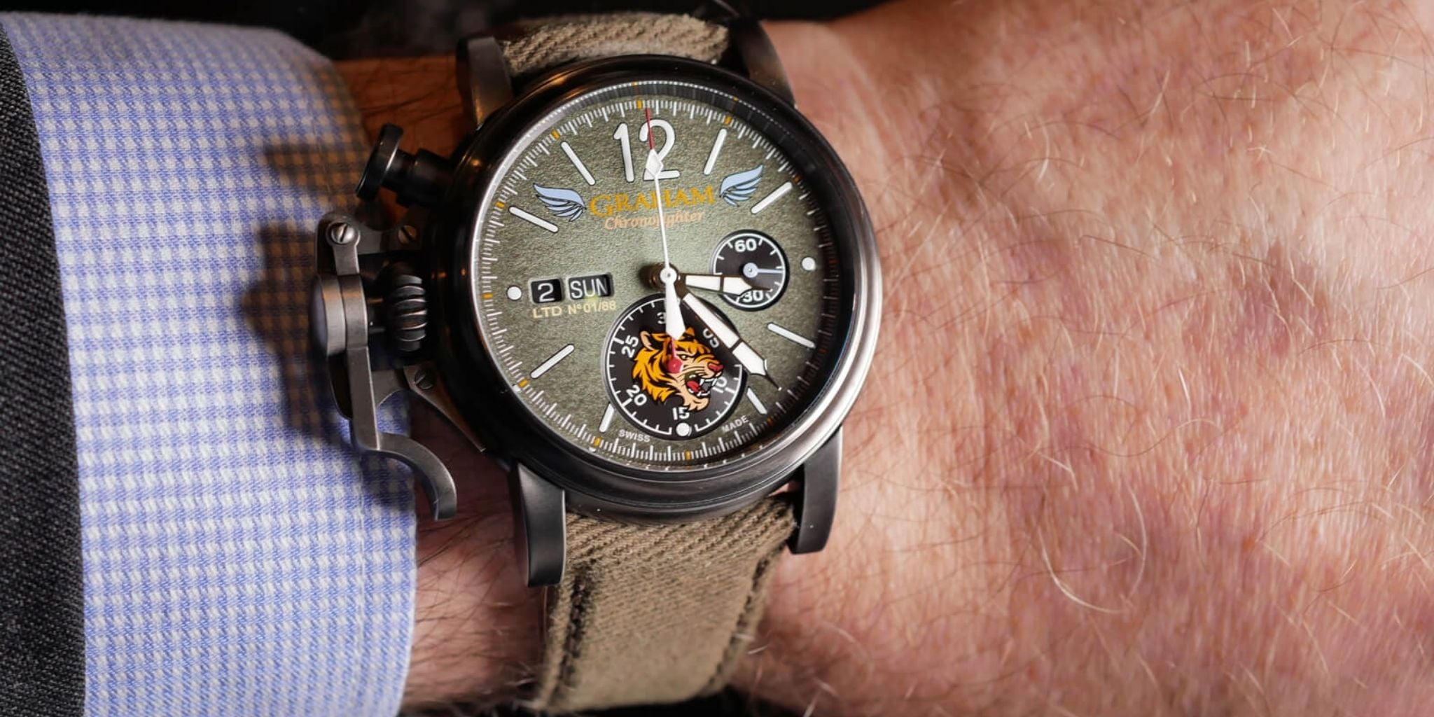 Graham Chronofighter Vintage Bronze Flying Tigers Ltd Green Dial