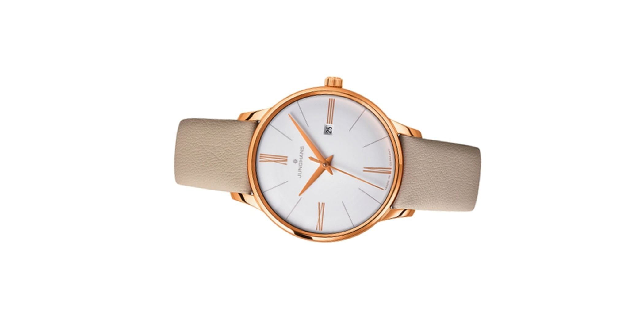 Augment your collection with a gold leather strap watch