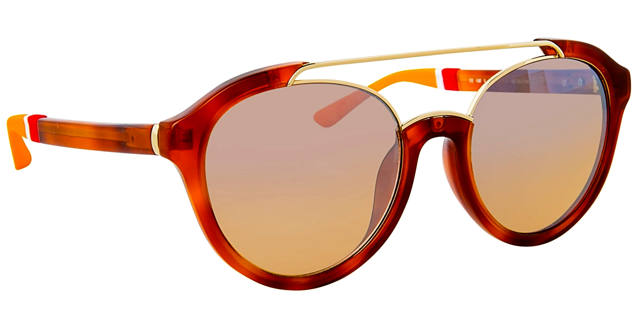 Orlebar Brown Sunglasses Oval Amber Tortise Shell and Orange