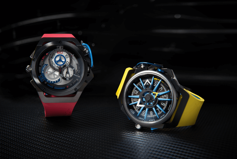 Mazzucato watches displayed with red wrist band and yellow wristband