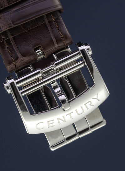 Century Automatic Sapphire Watch Prime Time Ego COSC Chronometre White Power Reserve Alligator Strap
