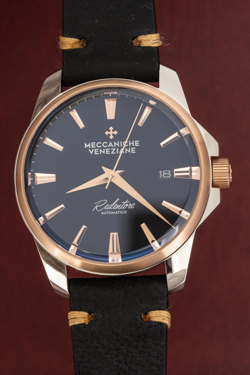 Meccaniche Veneziane Automatic Watch Redentore 4.0 Grey Dial IP Rose Gold Bezel with Italian Leather Strap 1301012