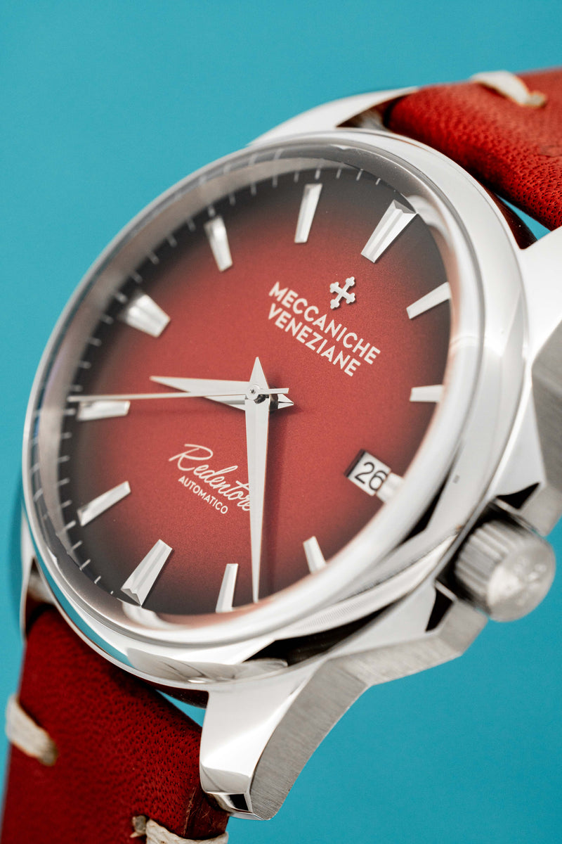 Meccaniche Veneziane Automatic Watch Redentore 4.0 Red with Italian Leather Strap 1301004