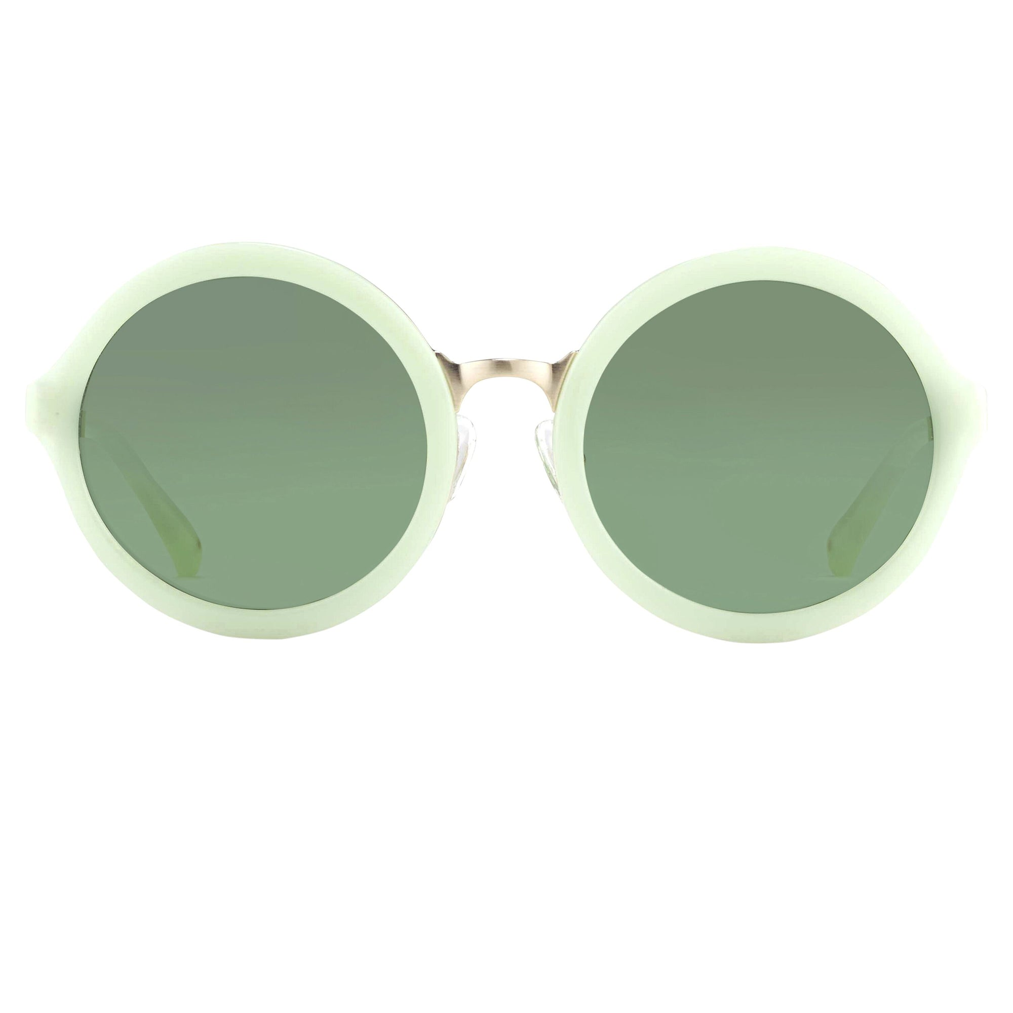 Phillip Lim Sunglasses with Round Midori Green Brushed Gold and Green Graduated Lenses - PL11C13SUN