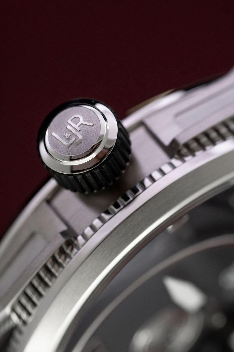 L&Jr Watch Day and Date Black Dial and Strap S1302