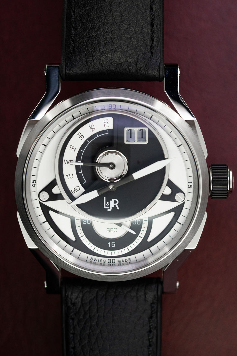 L&Jr Watch Day and Date Black and Grey Dial with Black Strap S1303