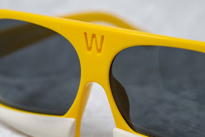 Walter Van Beirendonck Sunglasses Special Frame Yellow/Matt Bone and Grey Lenses - WVB7C4SUN