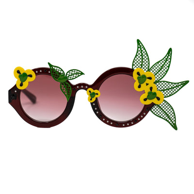 Amie Victoria Robertson Sunglasses Women Round Flowers Green Yellow With Graduated Red Lenses AVR1C3SUN - Watches & Crystals