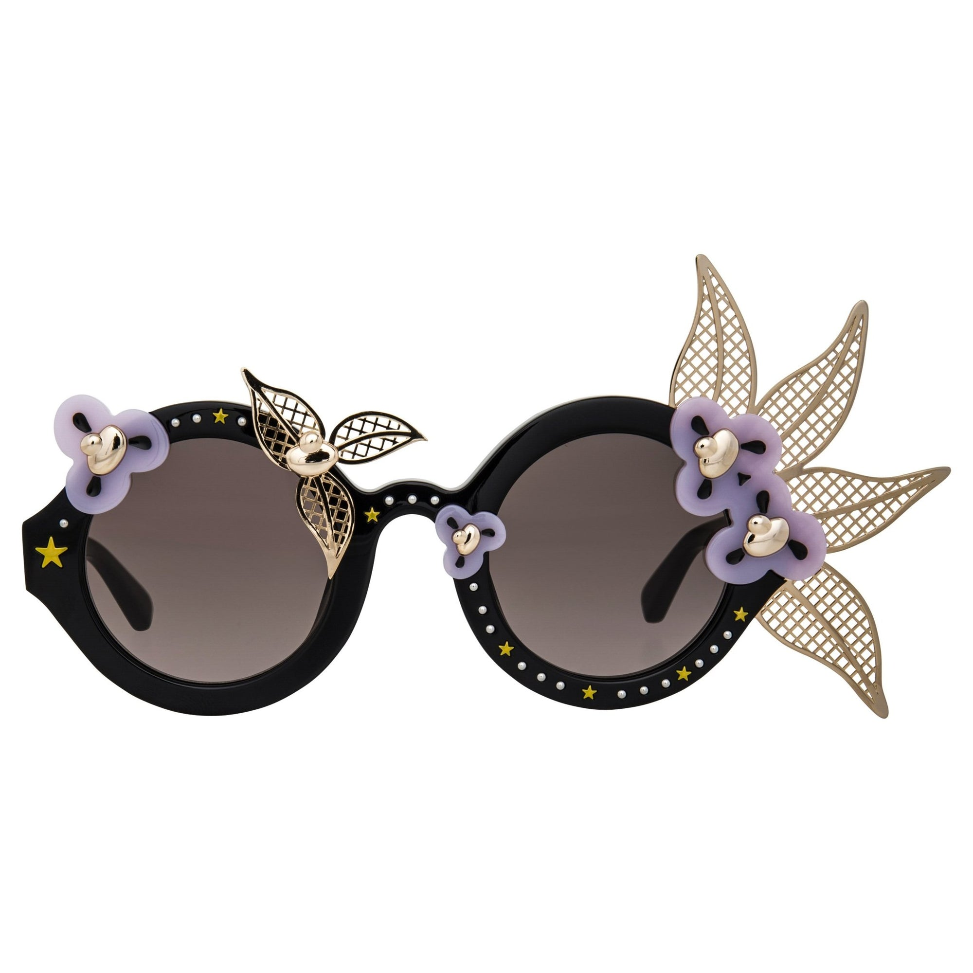 Amie Victoria Robertson Sunglasses Round Gold and Grey