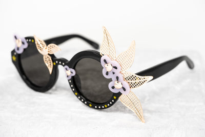 Amie Victoria Robertson Women Sunglasses Round Flowers Gold Lilac With Grey Category 3 Lenses AVR1C4SUN - Watches & Crystals