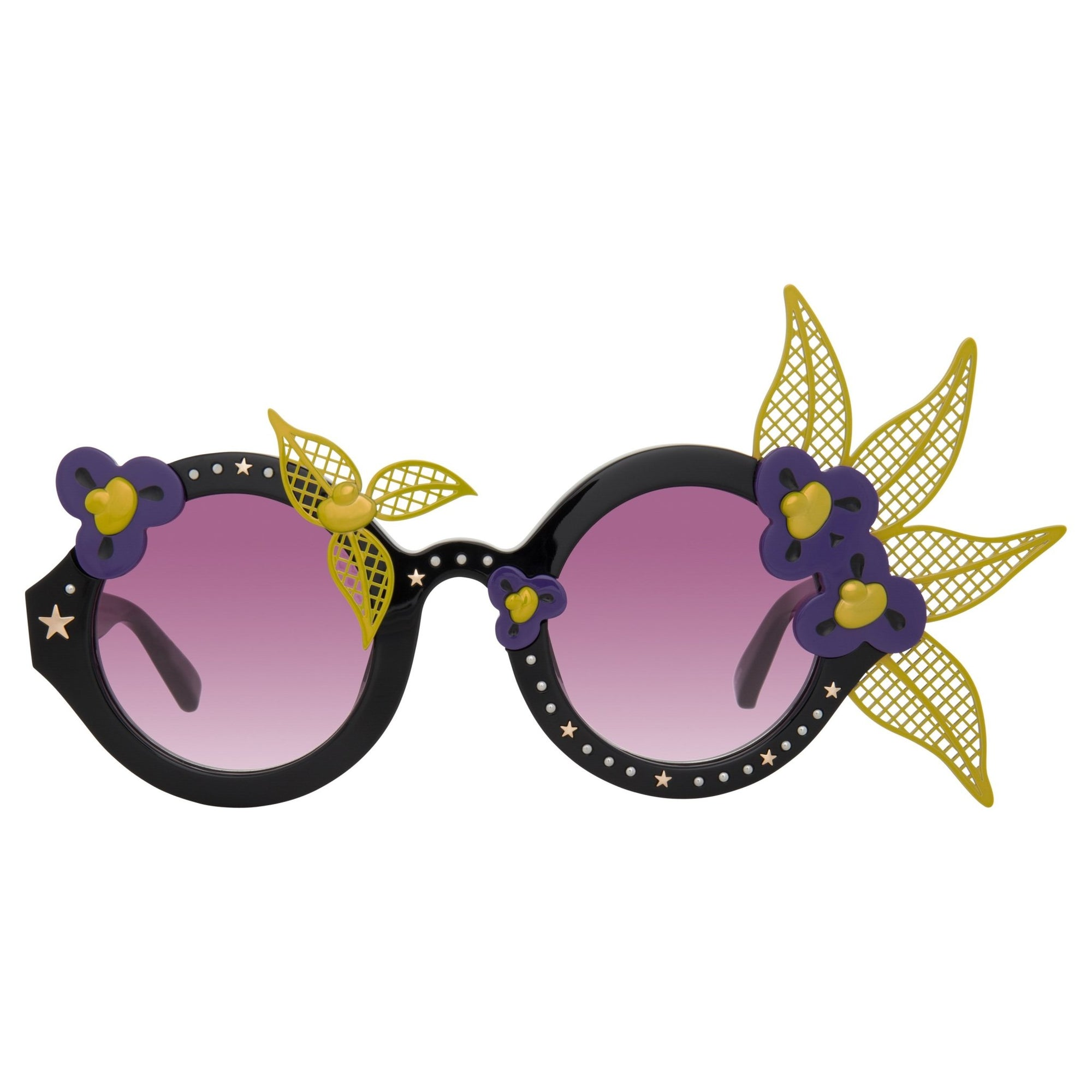 Amie Victoria Robertson Sunglasses Round Black and Purple