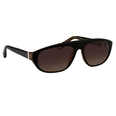 Ann Demeulemeester Sunglasses Black Tortoise Shell Flat Top 925 Silver with Brown Lenses AD1C6SUN - Watches & Crystals